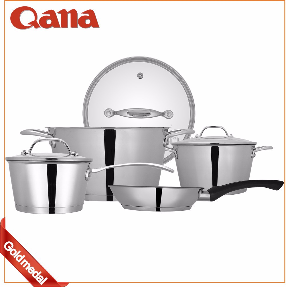 induction compatible stainless steel cookware set soup pot casserole fry pan view cookware. Black Bedroom Furniture Sets. Home Design Ideas