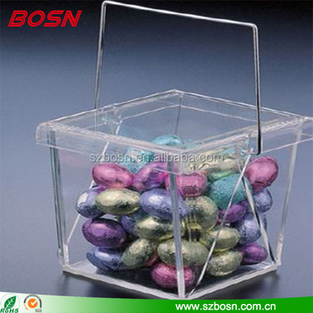Wholesale clear acrylic candy display bin Perspex storage box with lid