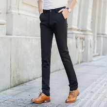 "TE08 new men ""s casual pants black small trousers elastic feet pants Korean Slim men trousers 011 models"