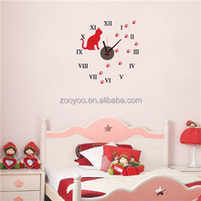 Zooyoo826Removable animal de decoración reloj de pared sticker art design auto tela adhesiva pared sticker decorativo reloj de pared para el dormitorio
