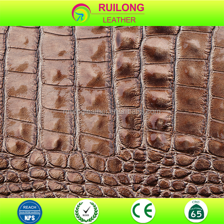 Crocodile skin embossed brown alligator pattern pvc faux leather