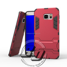 Best Quality Combo Shockproof Steel Small Kickstand Case Hybrid Rugged Rubber Gel Armor Case For Samsung Galaxy Note 5 edge