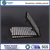 92% high alumina rubber ceramic wear liner/ceramic and rubber with steel backing plate composition