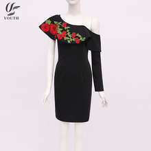 Embroidery Design Sexy One Shoulder Ruffle Sleeve Fashion Lady Evening Dress