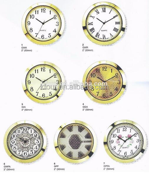 KFOUR 50mm watch bezel inserts 2 inch gold silver quartz mini clock insert/head from China