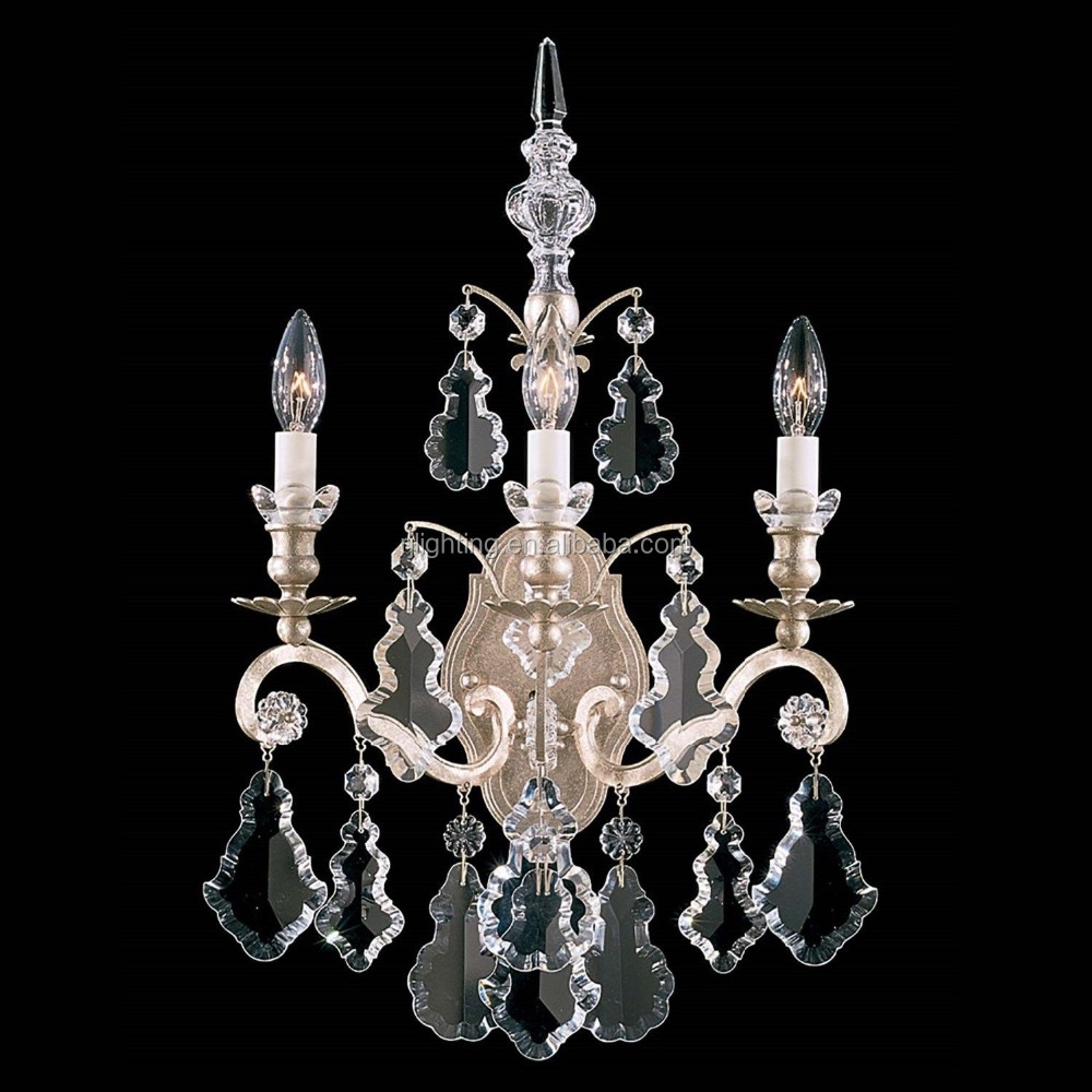 Zhongshan antique Decorative Vintage Crystal Wall Sconce wrought iron wall light lamp villa