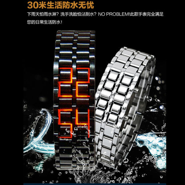 2014 Zinc Alloy Case Lava Iron Samurai Led Watch for Couple