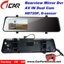 "Hot selling!!4.3""LCD car automatic Reversing AV IN 2 Lens rearview mirror for Toyota prado"