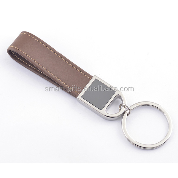 Personalized blank metal key tag with leather loop