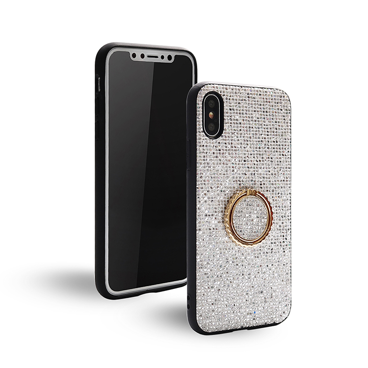 Fashion women's glitter <strong>mobile</strong> phone case with ring buckle for iphone x