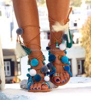 Hippieland Tie Up Greek Leather Pom Pom Gladiator Sandals