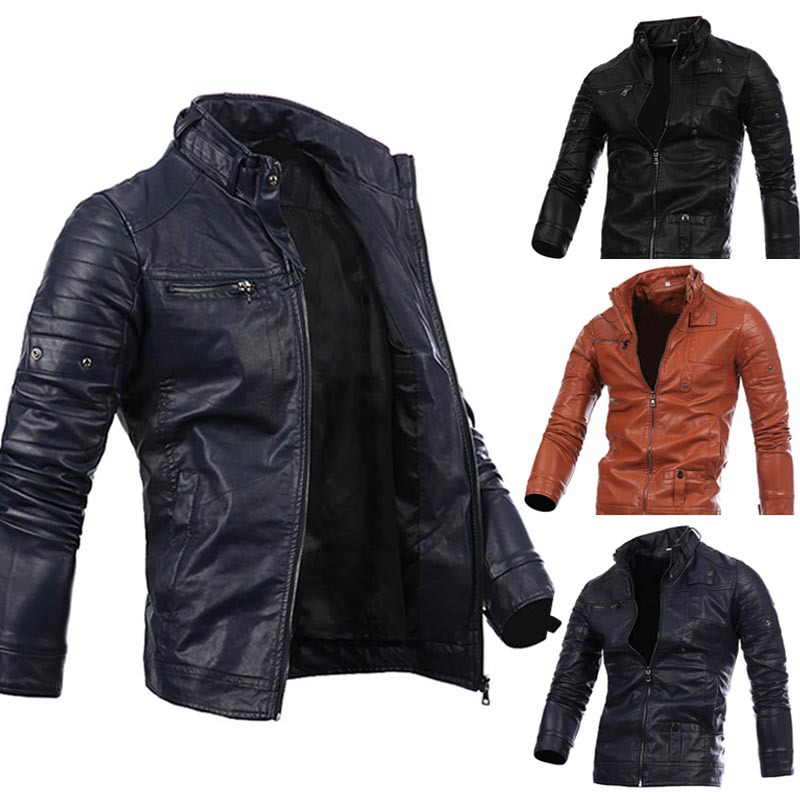 Mens Leather Zipper Locomotive Leather Jacket Collar Leisure Jacket