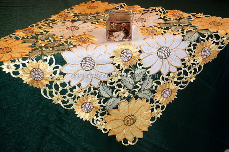sunflower cutwork embroidery tablecloth