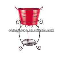 Red Metal Wine Beer Ice Bucket Party Planter With Shelf