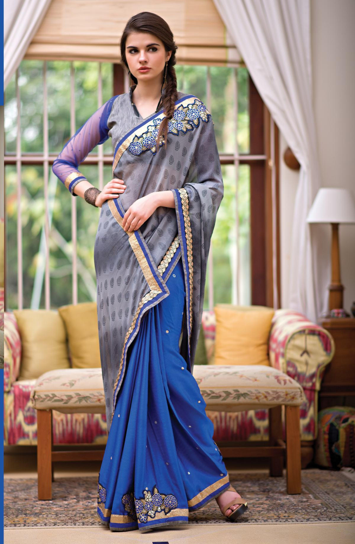 Triveni Majestic Blue Colored Stone Worked Silk Georgette Saree 48004