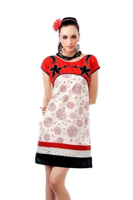 Designer Beautiful red and white printed casual western style ladies tunic kurti top dress