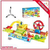 Kids DIY Funny Battery Operated Ferris Wheel Train Set 65pcs with Ligh and Music,Colorful Electric Toy Train Sets
