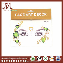 Great Quality Custom Non-toxic Gold Glitter Face Tattoo Sticker