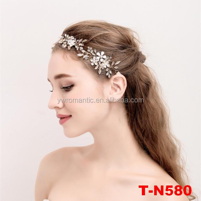 Floral crystal gold plated flower hair piece wedding headband bridal accessories for loog hair