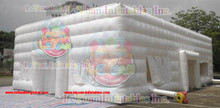 Strong white PVC inflatable cube, Strong Inflatable cube tent for festival events for sale