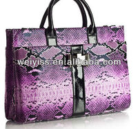 2013newest style snakeskin leather portfolio purple women's bags mini briefcase for ipad