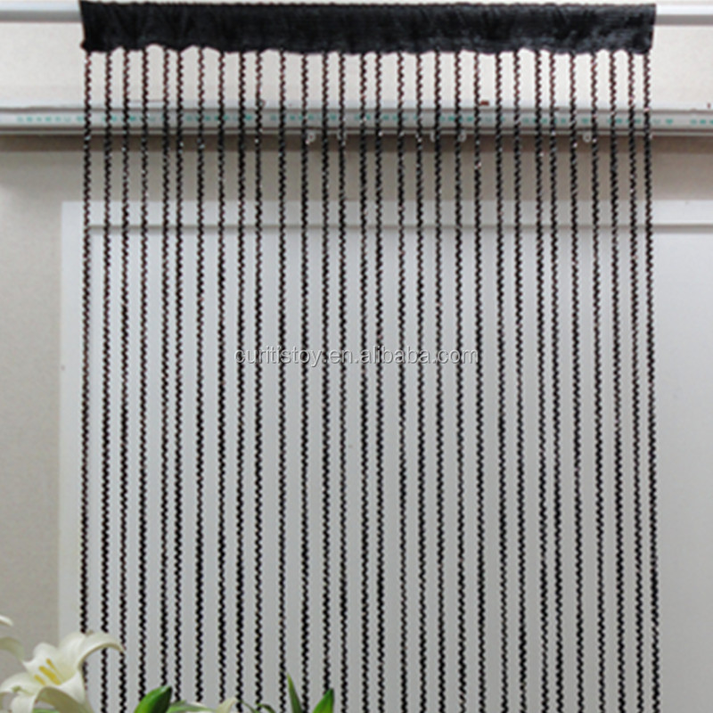 European and American style curtain living room threaded string solid pattern living room door cheap home curtains
