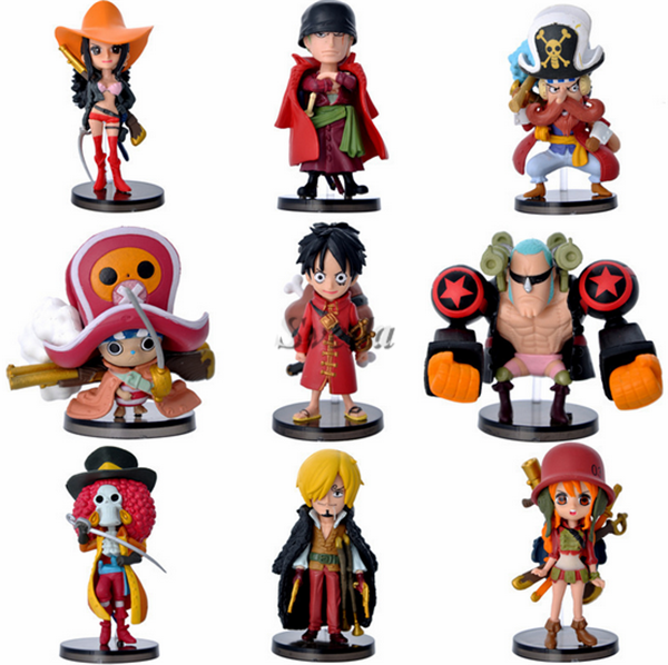 Polpular Japanese Anime One Piece action figure toy Anime Q version cartoon figure doll toys set of 9pcs PVC action figure