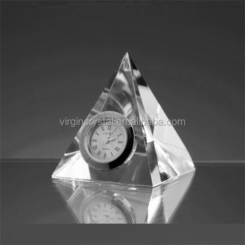 Wholesale Fashion K9 Crystal glass pyramid desk Table Clock /Clock Souvenir/office gift