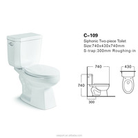 Square sitting toilet bowl,siphonic two pieces toilet single flush C-109