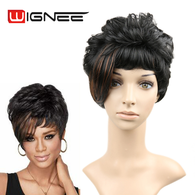 Wignee Mixed Brown Color Side Bangs Wig Short Cut Synthetic Hair Wigs For Women