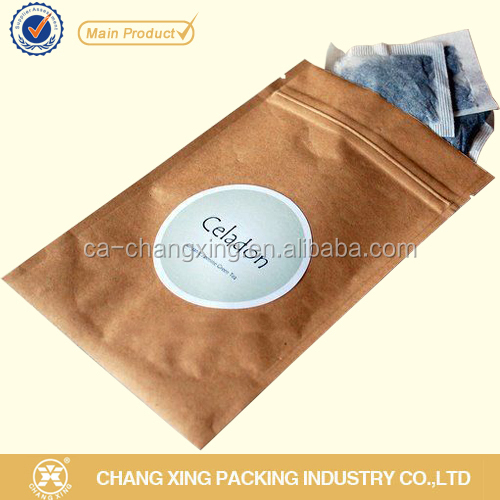 Kraft paper tea bag with resealable zipper/food bag for tea <strong>packing</strong>