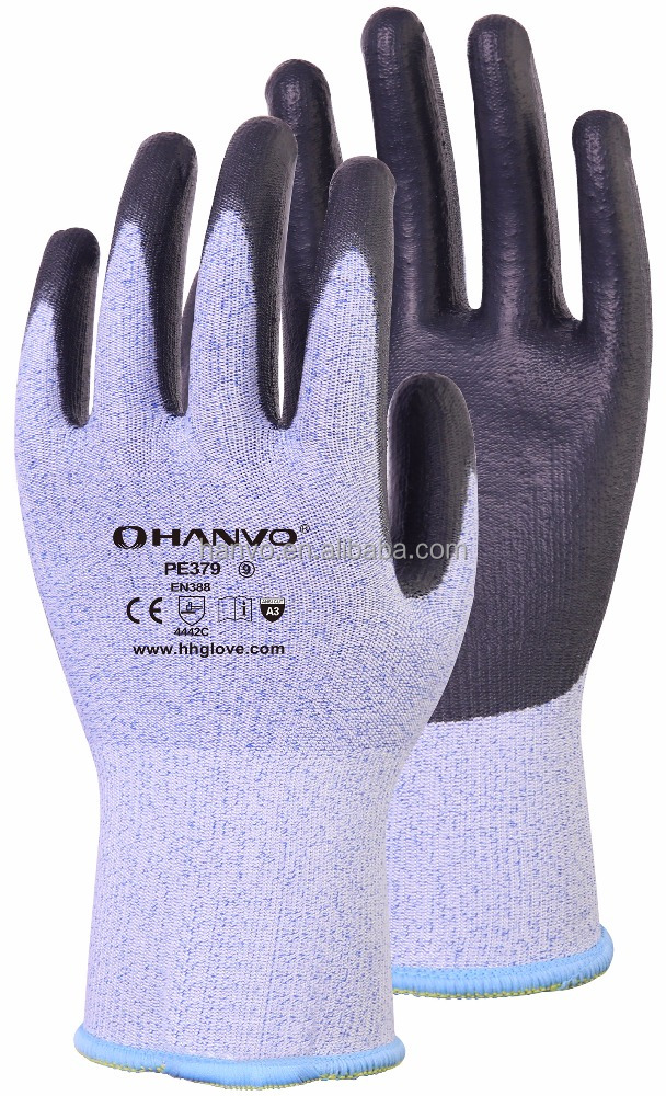 13G Dyneema Diamond gloves with black PU coating