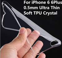 Factory Wholesale 0.6mm Utra thin Crystal Clear Soft Gel TPU Case Back Cover For iPhone 6 4.7 Inch Colorful