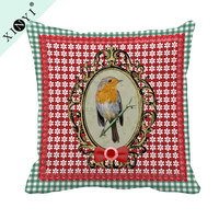 Custom design new latest digital printing luxury cushion cover wholesale birds print decorative pillow cover