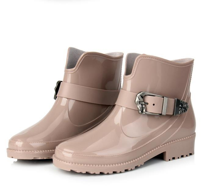 Get Quotations Brand New Women Buckle Pvc Ankle Rain Boots Flat Heels Anti Slip Rainboots Waterproof Water