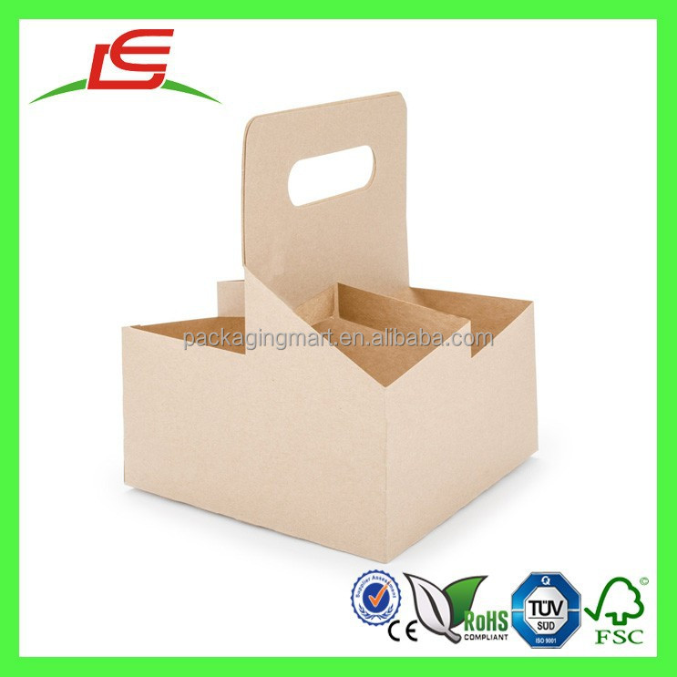 Q1143 Wholesale Custom Take Away 4 Drink Coffee Cup Carrier, Disposable Paper Cup Holder