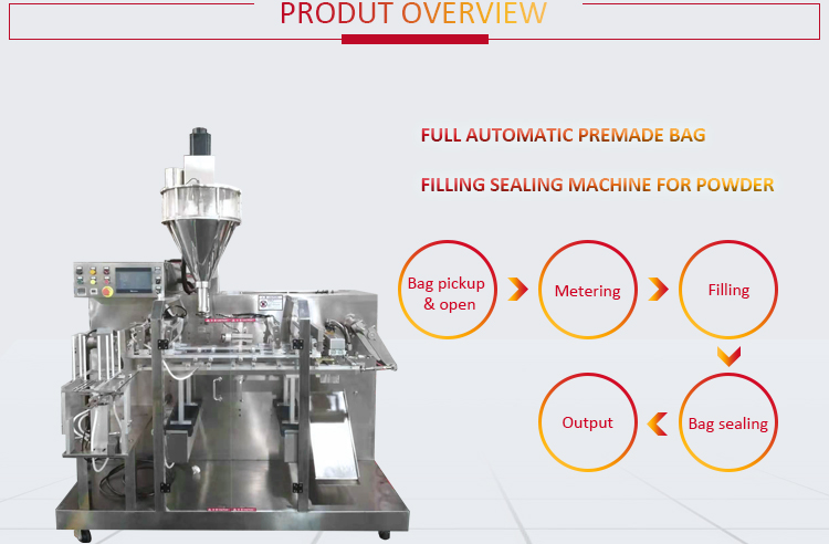 Premade Bag Doypack Automatic Jaggery Powder Packaging Machine