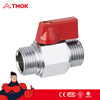 Hydraulic equal shape male thread brass chrome plated mini ball valve with CE certification