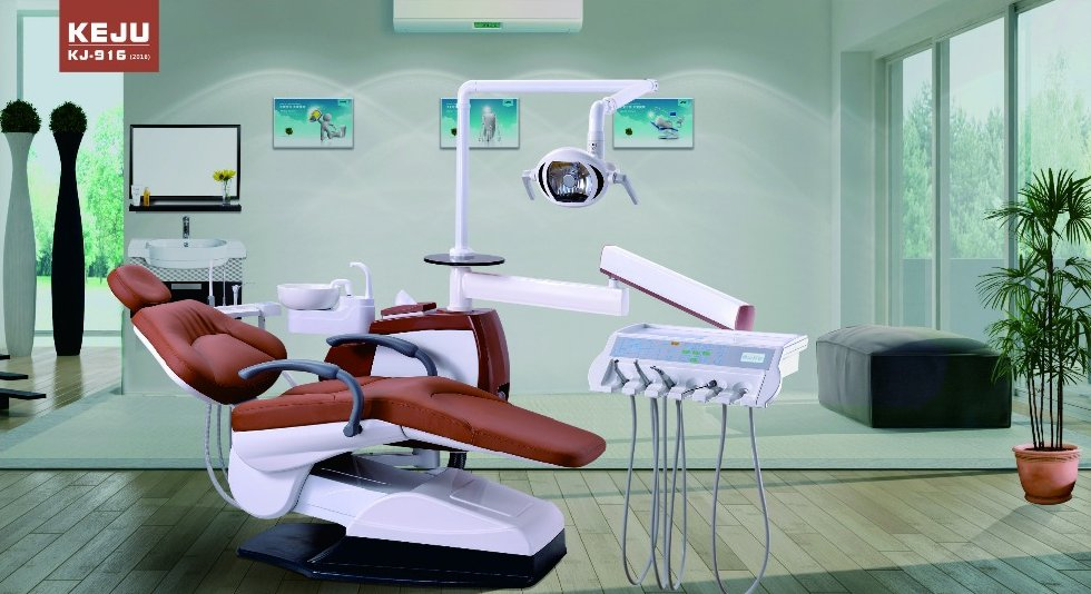 Dental Chair with Color Unit Box and Top Mounted Tool Tray
