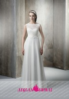 LC42 Elegant O Neck Sleeveless Wedding Dress 2015 Lace A-Line Floor Length White Vestidos De Novias Elegant