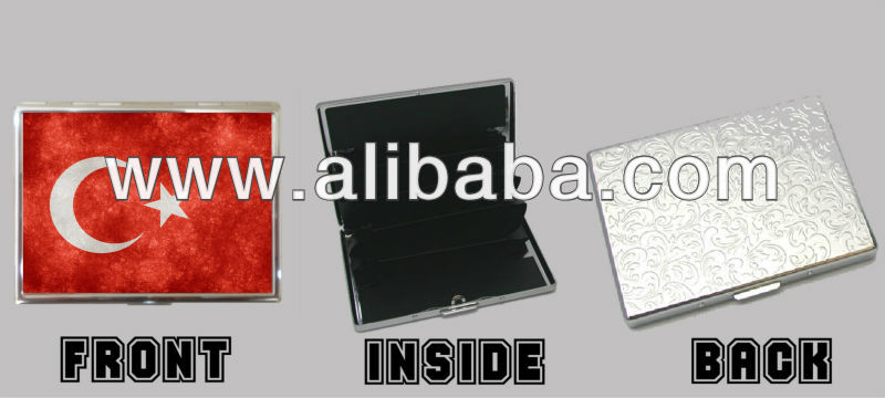 Turkish Turkey Flag Stainless Steel Chrome Wallet Credit Card Case Holder - Personalized Gift Novelty Pendants Unique Souvenirs