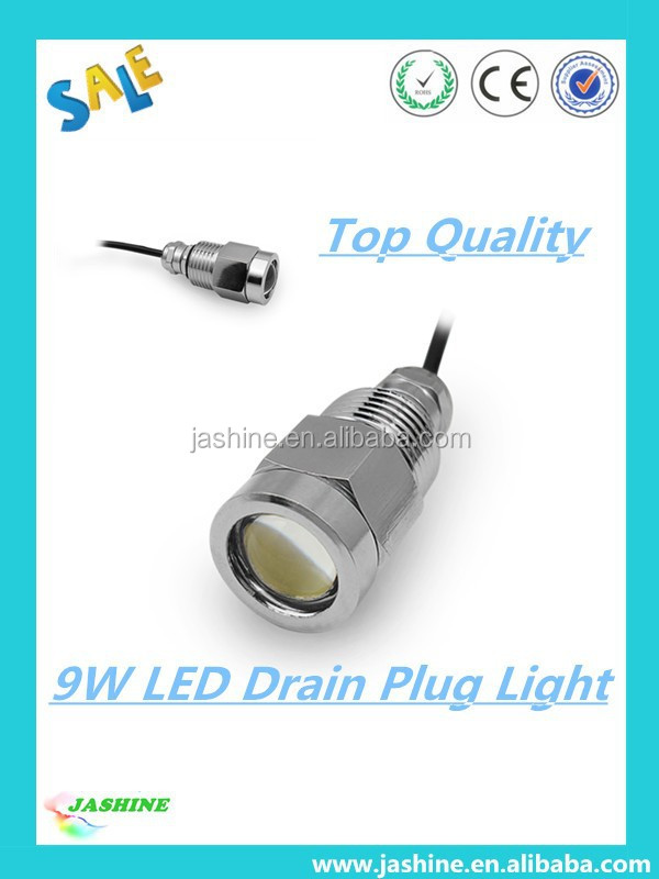 2015 HOT SELLING!!! Hot New Drain Plug Light Underwater Led Boat Lights 9w Boat Dock Lighting Fixtures