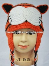 lovely tiger cartoon design winter crochet hat