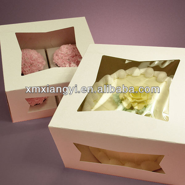brown frozen cake packaging with window box