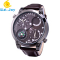 WJ-6641 Latest Popular Dual Time Leather Strap Businessmen Vogue Watch