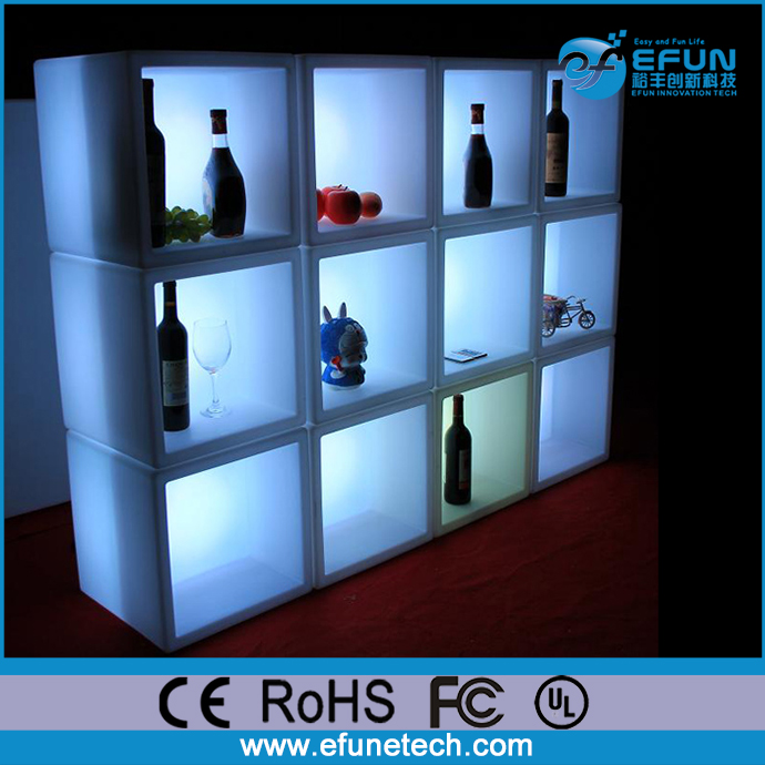 DIY led color changing illuminated wine display cabinet bar cube wall shelf