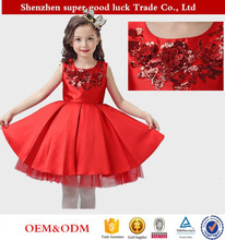 Large red lace decal long sleeves / sleeveless children girl dress