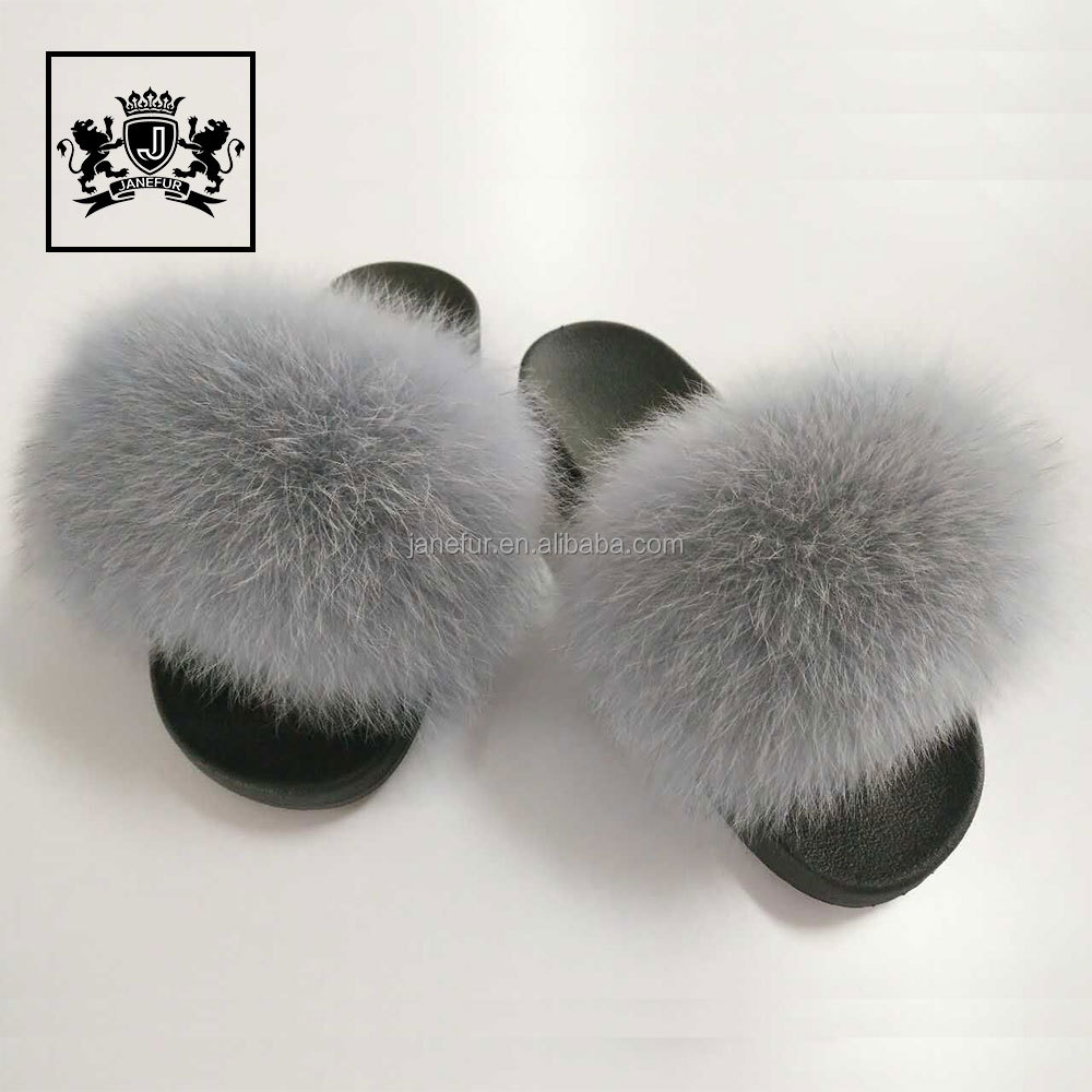Wholesale New Design Women Luxury Fur Slides With Real Fox Fur PVC Plastic Plush Fox Fur Slide Slipper