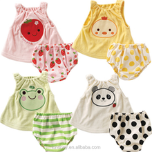 KS10430A Lovely printed design baby outfits vest and shorts set cheap baby summer clothes