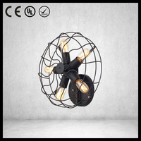 E27 bulb black iron wall mounted fans with light with UL